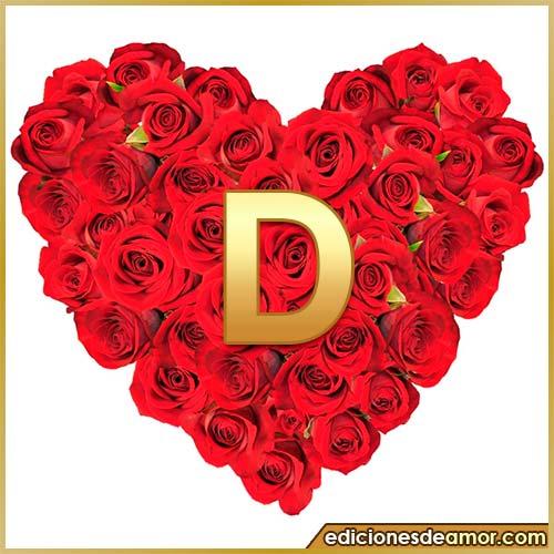 corazón de rosas con letra D
