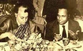 Dhiru Bhai Ambani having Lunch with PM Indira Gandhi
