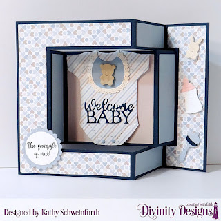 Divinity Designs Stamp Set: Sweet Baby, Custom Dies: Baby Blessings, Scalloped Circles, Circles Tri-fold Card with Layers, Paper Collection: Baby Boy