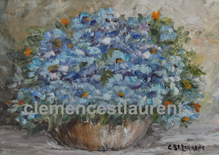 Blue bouquet, 5 x 7 oil painting of small blue flowers in a vase, by Quebec artist Clemence St. Laurent