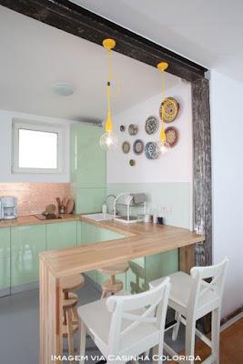 idéias de armários verde para cozinha