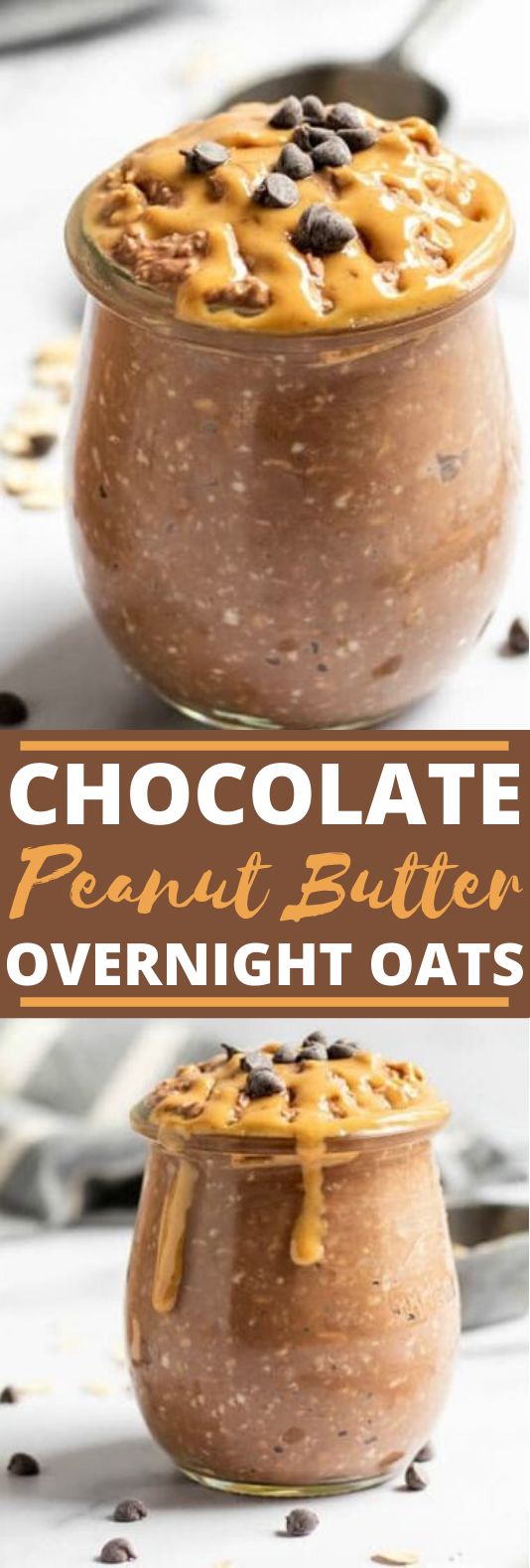 Chocolate Peanut Butter Overnight Oats #healthy #breakfast #keto #recipes #peanutbutter