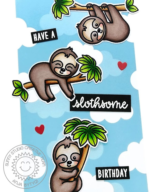Sunny Studio Stamps: Silly Sloths Punny Sloth Themed Birthday Cards by Vanessa Menhorn and Anja Bytyqi