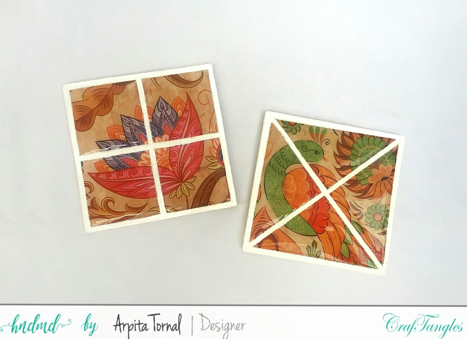 Faux Mosaic Decoupage Coasters , DIY start to end video tutorial