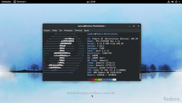 Área de trabalho do Fedora 26 Workstation (GNOME) após realizar o upgrade