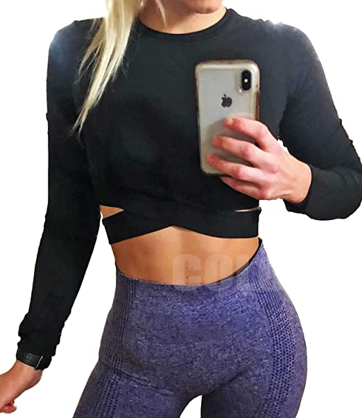 50% OFF COLO Long Sleeve Crop Tops for Women - Activewear Workout Yoga Gym Top Lounge T Shirts