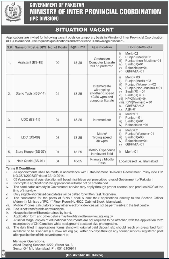Advertisement of Ministry of Inter Provincial Coordination Jobs