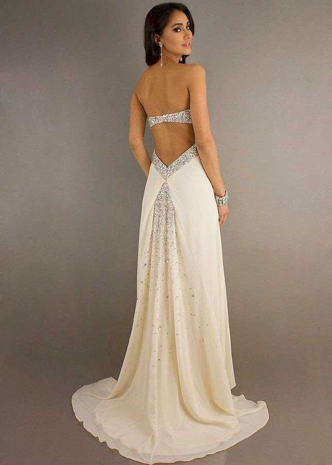 Sparkly Open Back Ivory Draped Trailing Evening Gown