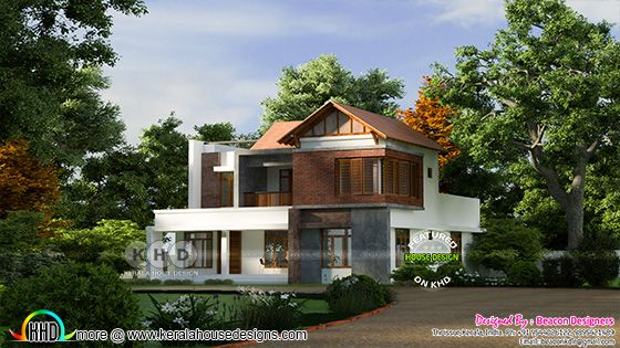 4 bedroom mixed roof red brick wall home design