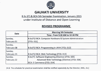 IDOL Guwahati University B.Sc IT & BCA 5th Sem Examination Schedule