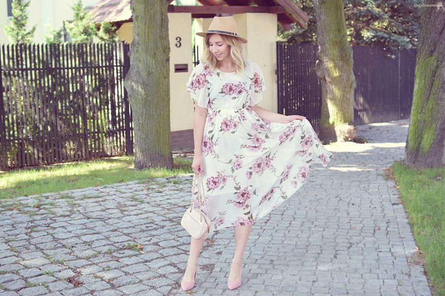 sukienka, moda, kwiaty, elegancja, brilupl, szaleo, fashionmia, primamoda, wyniki, kapelusz,