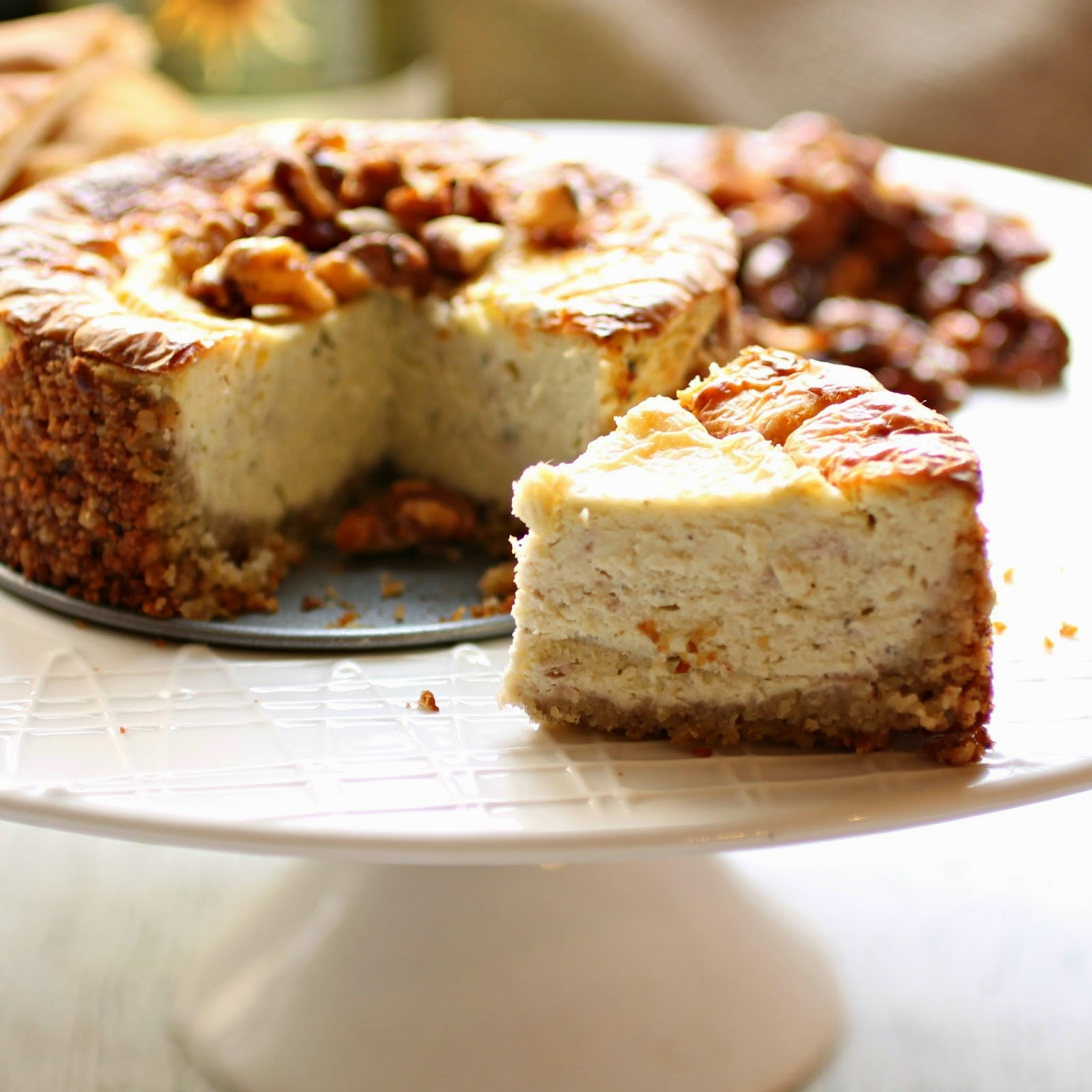 Savory Cheesecake with Honeyed Walnuts