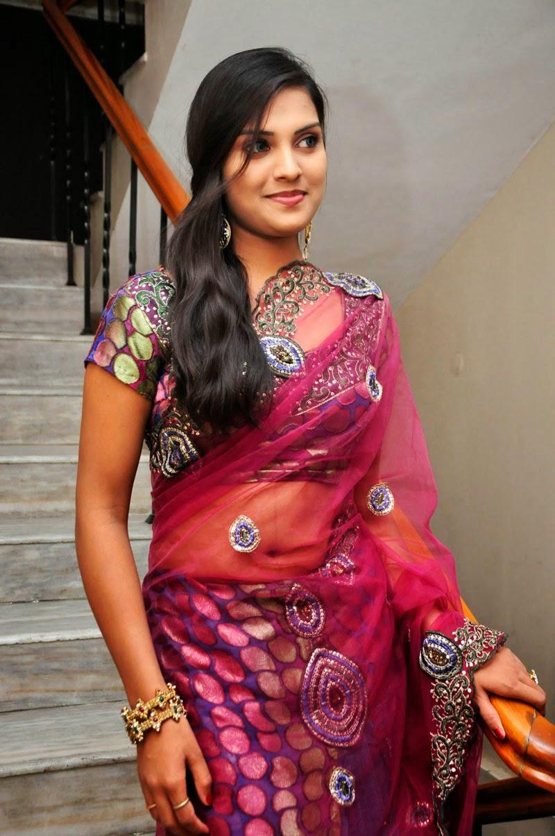 Actress Prakruthi Hot Navel Show In Transparent Saree -9579