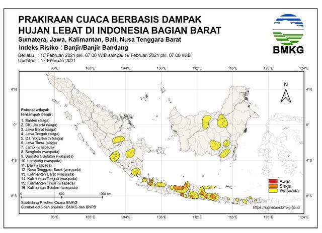 BMKG Beri Peringatan Dini, 22 Provinsi Berstatus Siaga hingga Waspada Banjir
