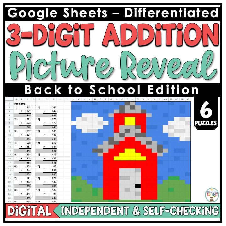 3-digit addition picture reveal cover using Google for distance learning.