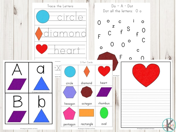 2d-shape-printables-worksheets-square, circle, rectangle, triangle, heart, star, pentagon, trapezoid, diamond, hexagon, octagon, rhombus, and oval