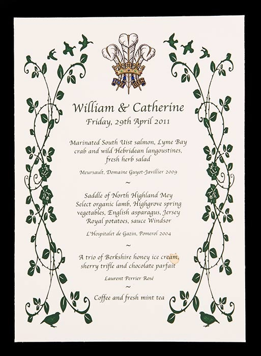 The menu of The Duke and Duchess of Cambridge's marriage