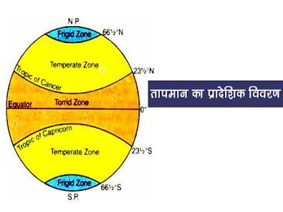 तापमान का सामान्य प्रादेशिक वितरण | Normal regional distribution of Temperature