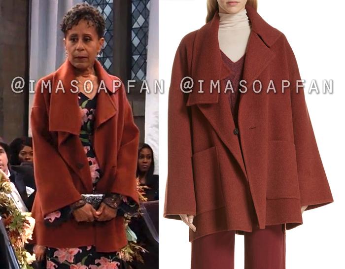Stella Henry, Vernee Watson, Rust Red Blanket Coat, General Hospital, GH