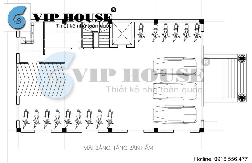 Hình ảnh: Thiết kế khách sạn mini cổ điển 11 tầng - mặt bằng tầng bán hầm