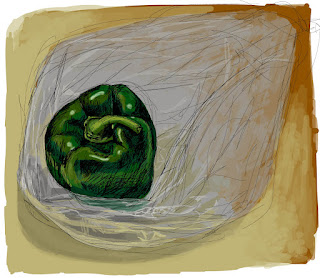 Green Bell Pepper, Adobe Ideas, iPad drawing, digital artwork, Chris Breier