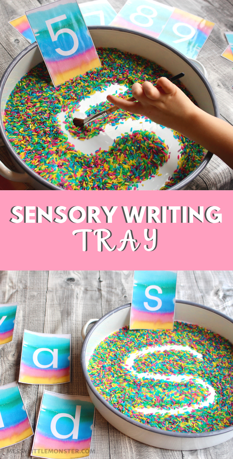 Rainbow rice sensory writing tray with alphabet cards and number cards. Fun handwriting practice activity for preschoolers.