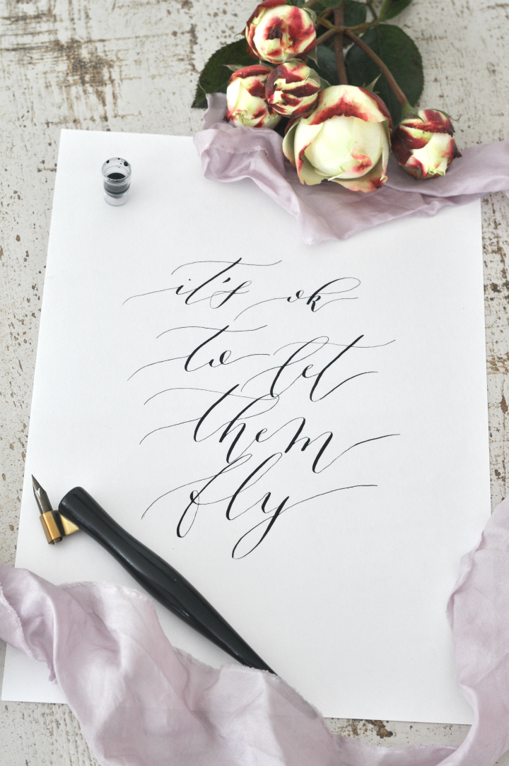 Free Calligraphy Printable 'It's ok to let them go' for moms, dads and everybody who needs a little reminder