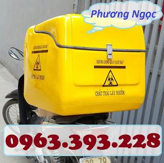 Thùng vận chuyển rác thải y tế, thùng chở chất thải y tế sau xe máy