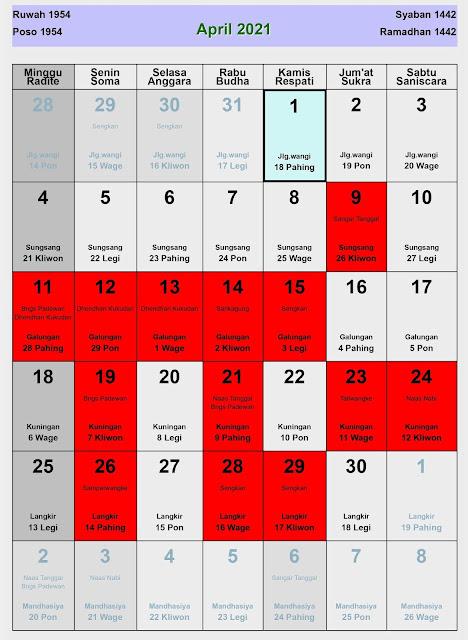 Kalender Jawa April 2021 Lengkap Hari Baik dan Buruk