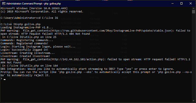cmd php golive.php