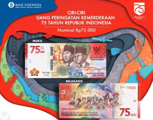 Uang peringatan kemerdekaan 75 tahun RI dengan nominal IDR 75000