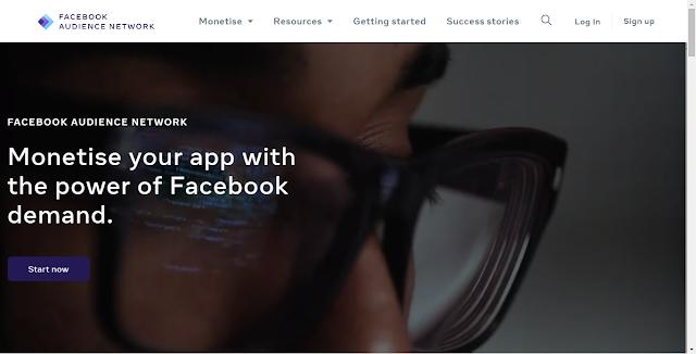 Facebook Audience Network Website Homepage Screnshot