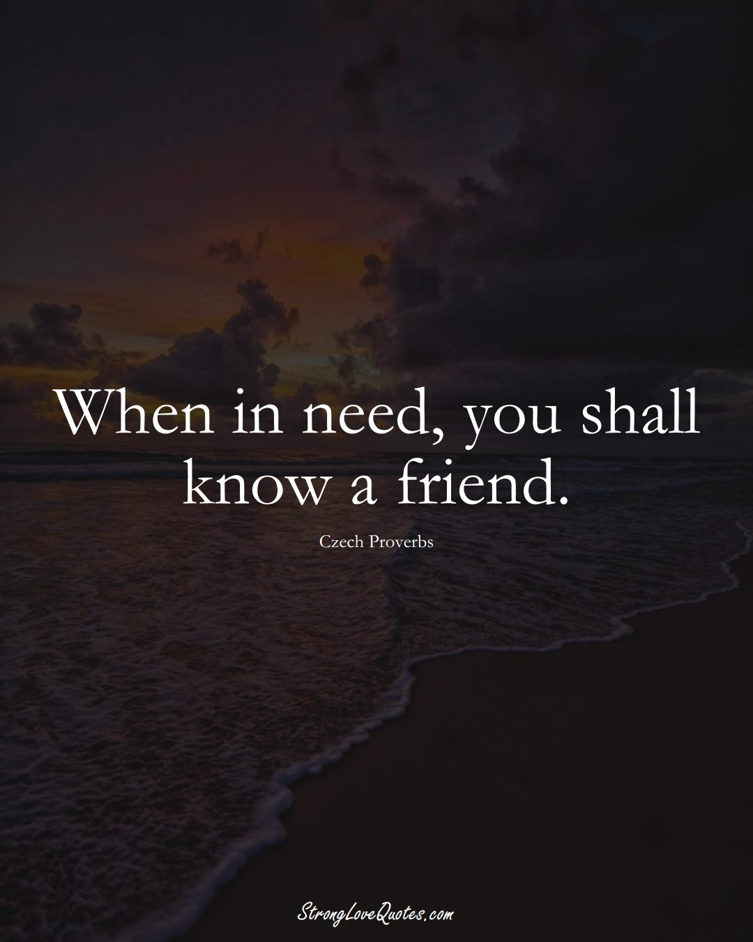 When in need, you shall know a friend. (Czech Sayings);  #EuropeanSayings
