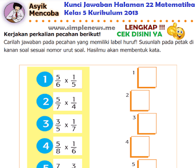 Kunci Jawaban Halaman 22 Matematika Kelas 5 Kurikulum 2013 www.simplenews.me