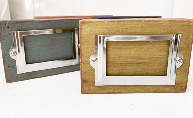 colored blocks with silver label holders