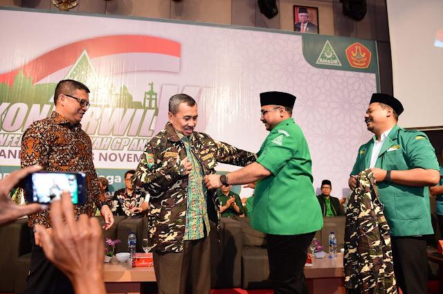 Kapolda dan Gubernur Riau Jadi Banser Pada Konferwil ke VI GP Ansor