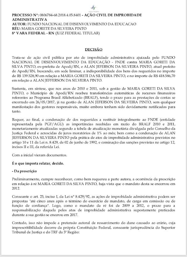 Ex-Prefeita de Apodi teve seus bens bloqueados e condenada a pagar multa de mais 139 mil, Já o atual prefeito foi citado a pagar uma multa de mais de 400 mil.