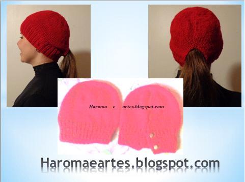 Haroma   Artes  Gorro pra usar com o cabelo rabo de cavalo!!! 7b8a3e8abcd