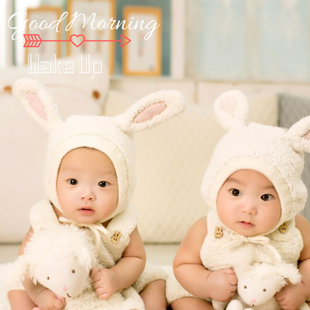 Vary cute 2 little Baby Good Morning Images