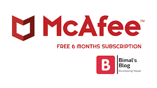 Mcafee  antivirus free 6 months subscription