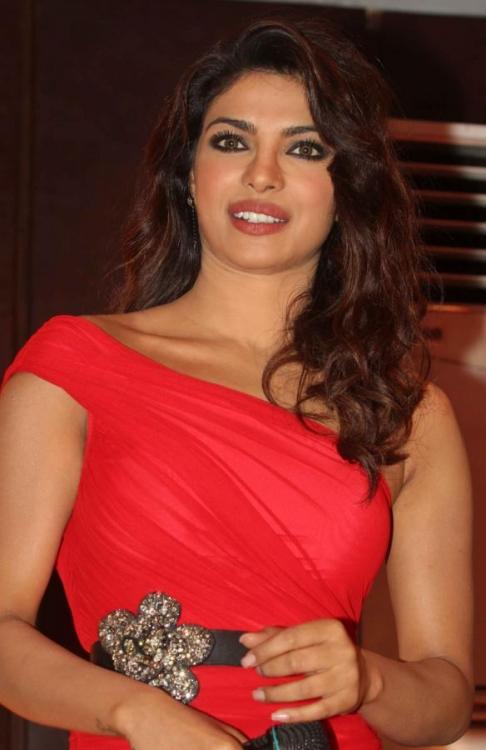 Actress Priyanka Chopra Long Legs Stills In Red Dress
