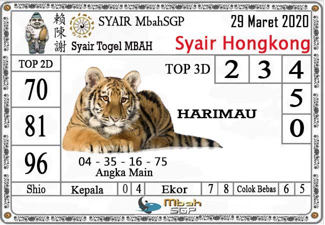Prediksi Togel Hongkong Minggu 29 Maret 2020 - Syair Mbah HK