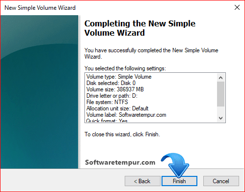 Completing the new simple volume wizard