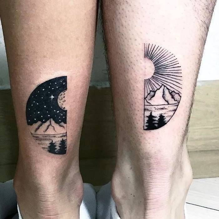 The sun and the stars, day and night tattoo