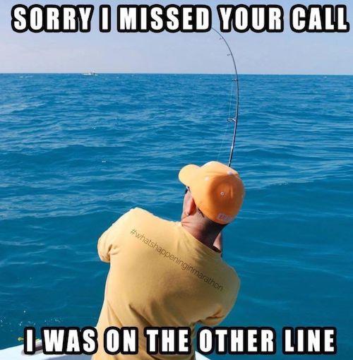 Phone call while fishing meme