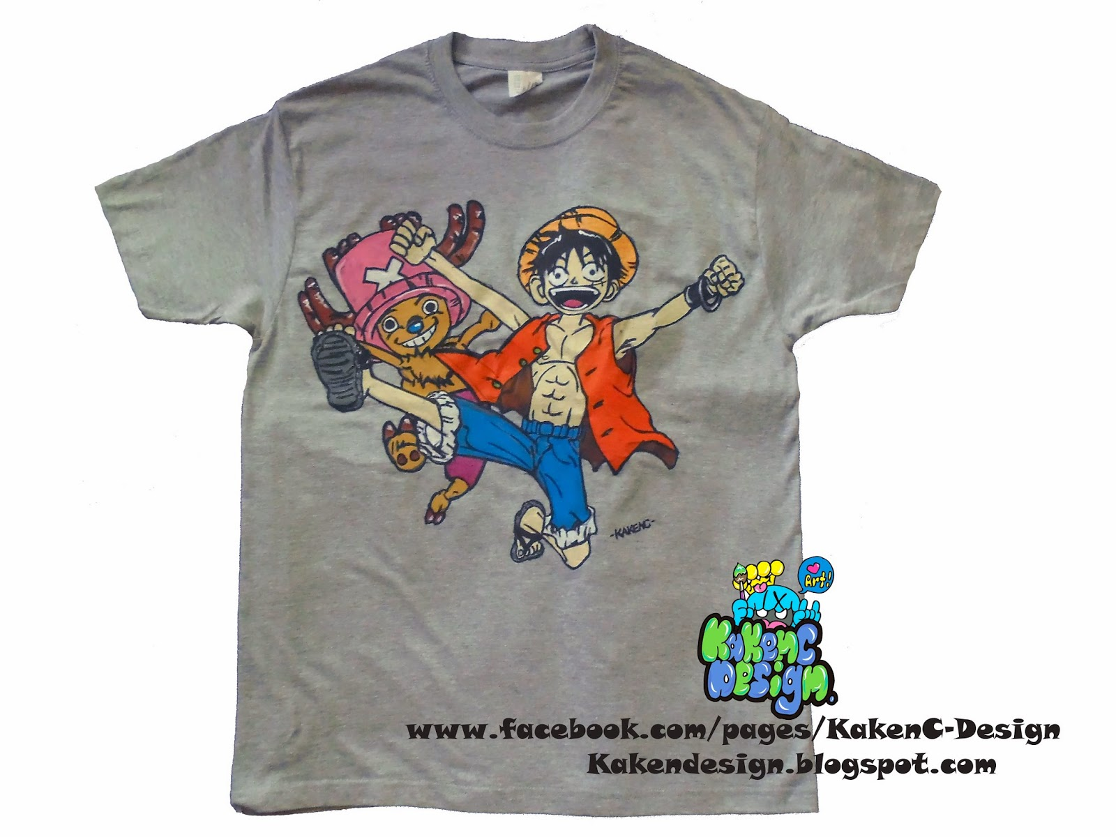 Anime One Piece Luffy And Tony Chopper Character Custom Hand Painted T Shirt Design Which Contain Of 1 2 Cartoon Can Be