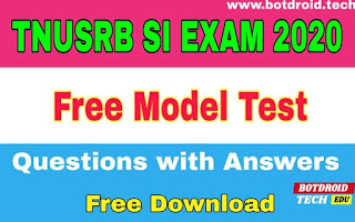 tnusrb si exam 2020 model question paper with answer