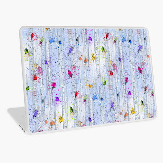 Whimsical rainbow birds on birch trees patterned laptop skin