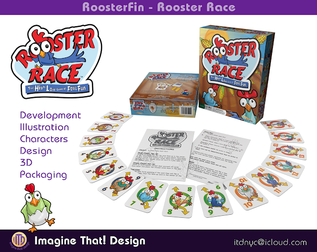 Rooster Race game illustration adn design designed and illustrated by Traci Van Wagoner and Kurt Keller at Imagine That! Design