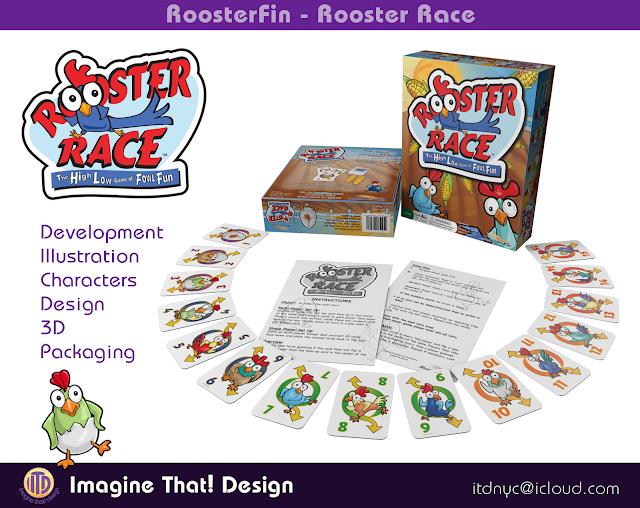 Rooster Race game illustration adn design designed and illustrated by Traci Van Wagoner and Kurt Keller at Imagine That! Design